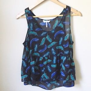 Blue, green feather tank top